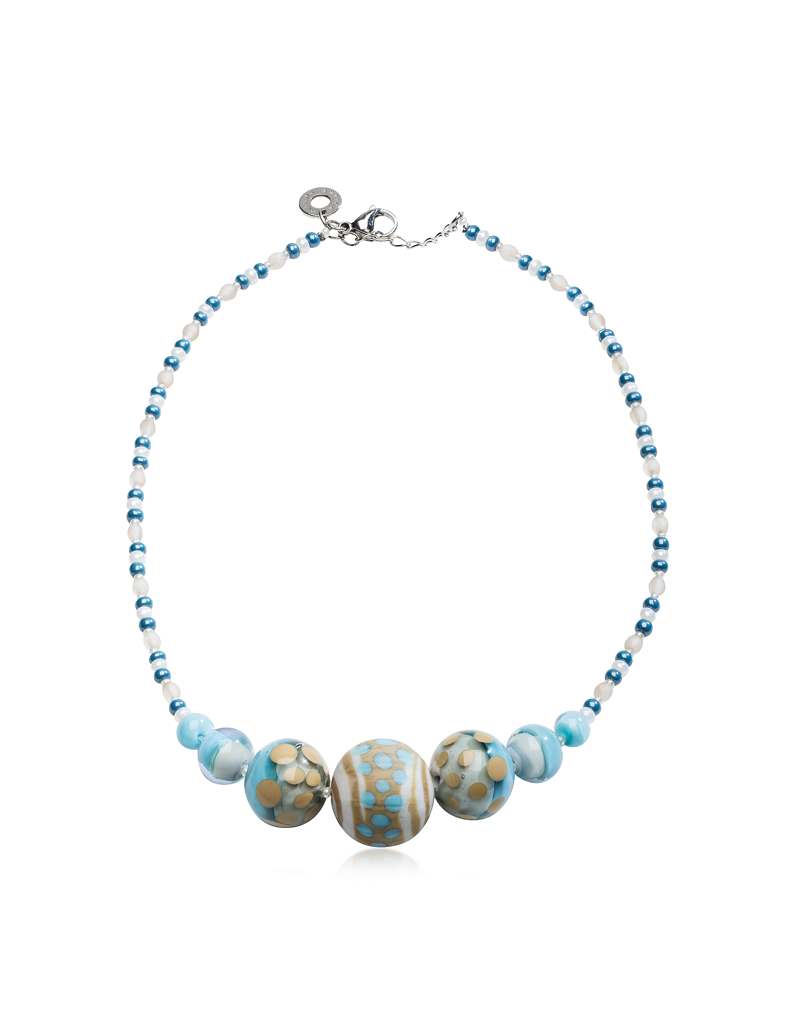Antica Murrina Necklaces, Papaya 2 Light Blue Pastel Murano Glass Choker