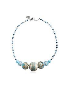 Papaya 2 Choker Halskette aus Muranoglas in hellblau - Antica Murrina Veneziana