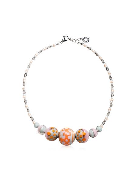 Antica Murrina Veneziana Papaya 2 Choker Halskette aus Muranoglas in pastellfarben