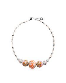 Papaya 2 Choker Halskette aus Muranoglas in pastellfarben - Antica Murrina Veneziana