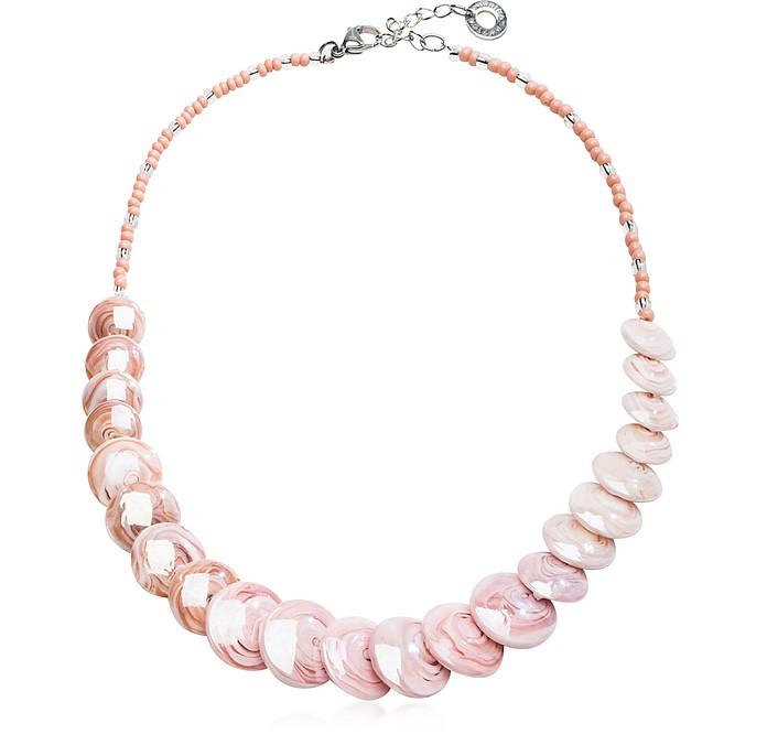 Monete 2 Pastel & Transparent Light Pink Murano Glass Choker - Antica Murrina