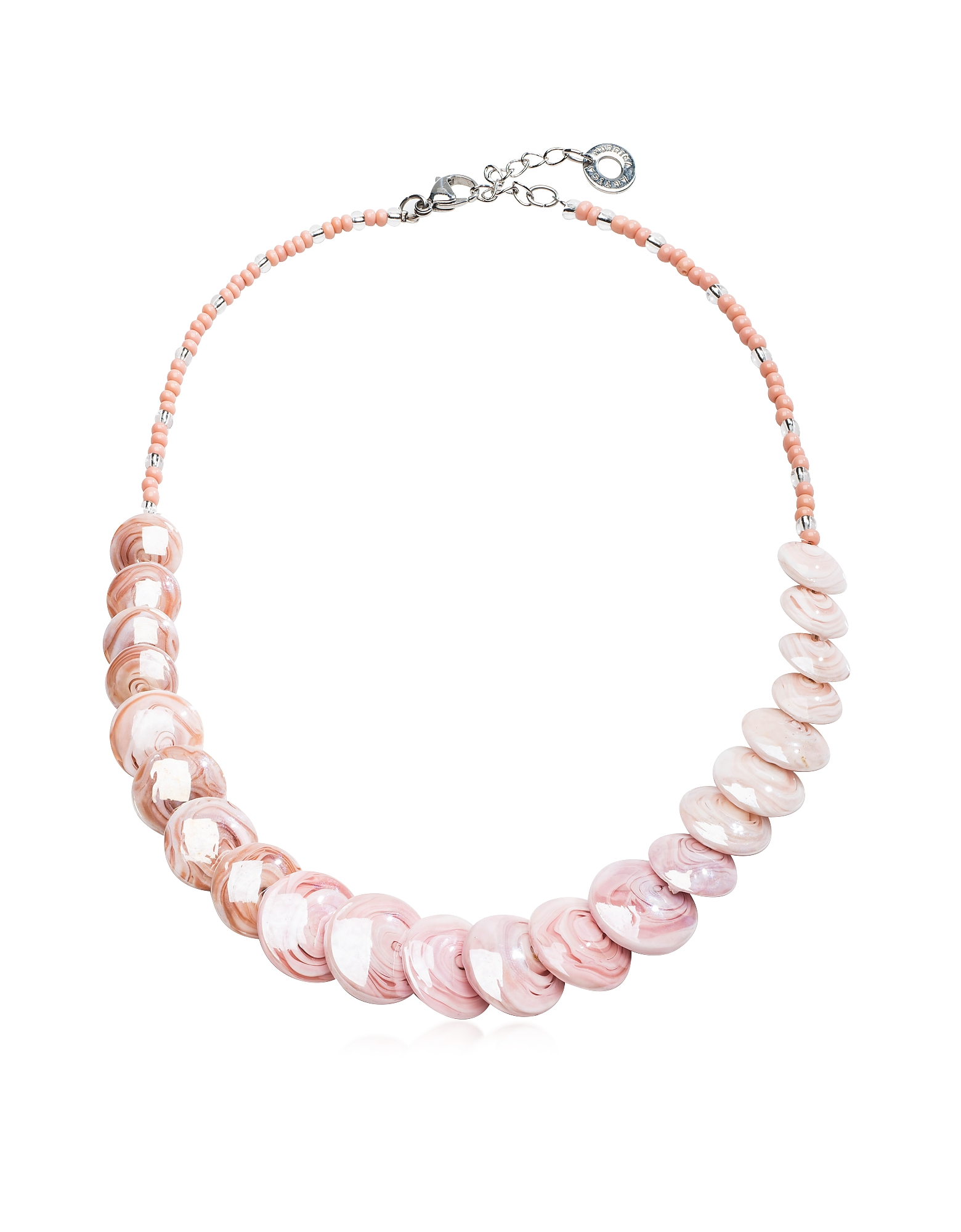 Antica Murrina Necklaces, Monete 2 Pastel & Transparent Light Pink Murano Glass Choker