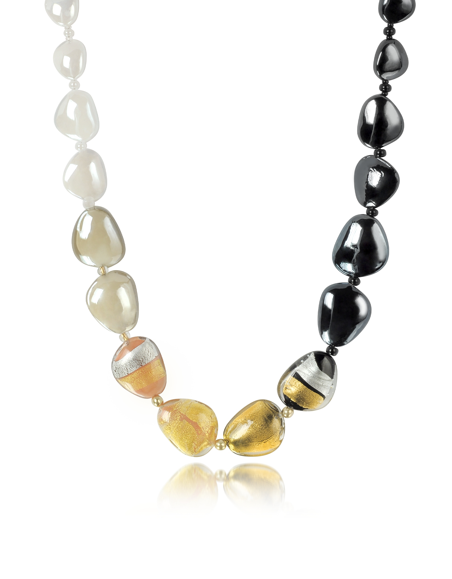 Antica Murrina Necklaces, Moretta Pastel Glass Beads w/24kt Gold Leaf Necklace