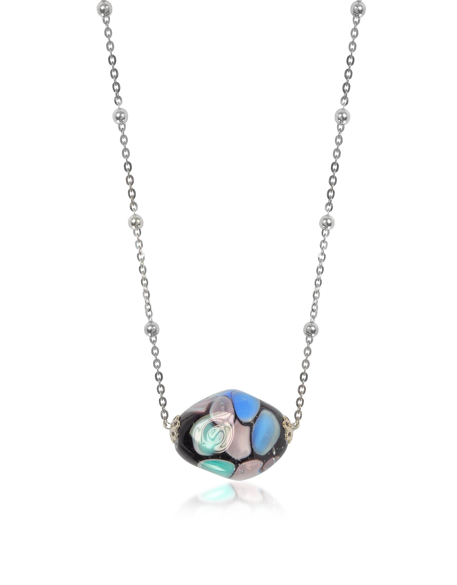 Smeralda - Ожерелье из Стерлингового Серебра со Стеклянным Кулоном и Кубиками Циркония