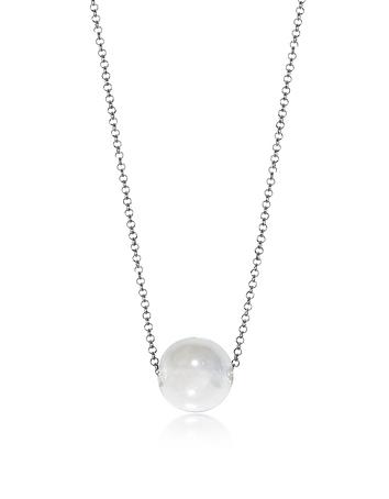 Perleadi White Murano Glass Bead Chain Necklace