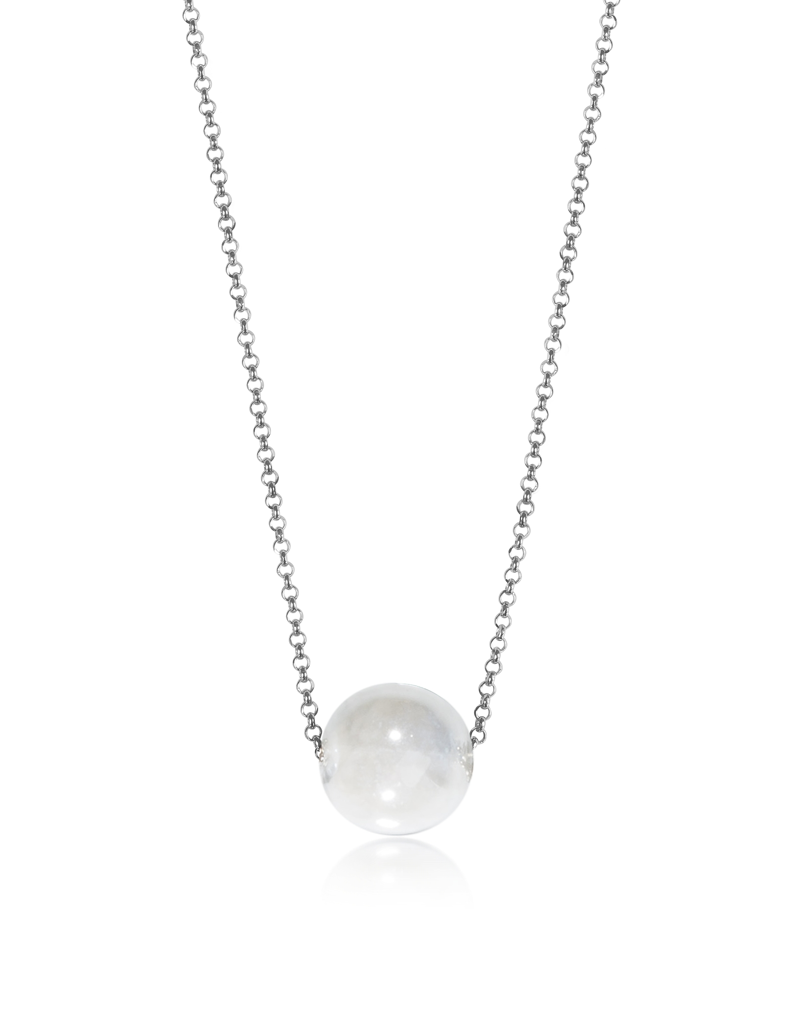 Perleadi White Murano Glass Bead Chain Necklace