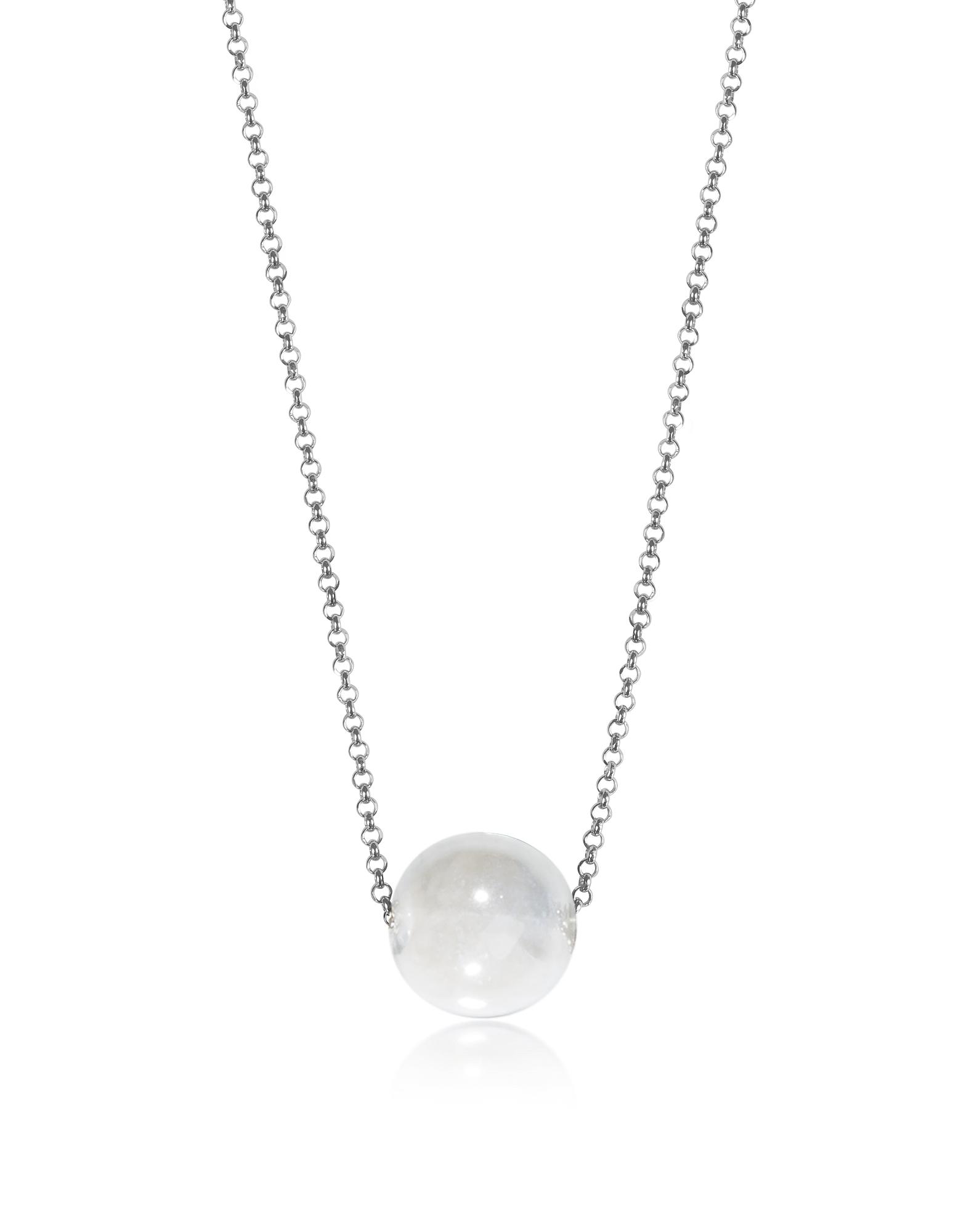 Perleadi - Ожерелье Цепочка с Белой Бусинкой из Стекла Мурано