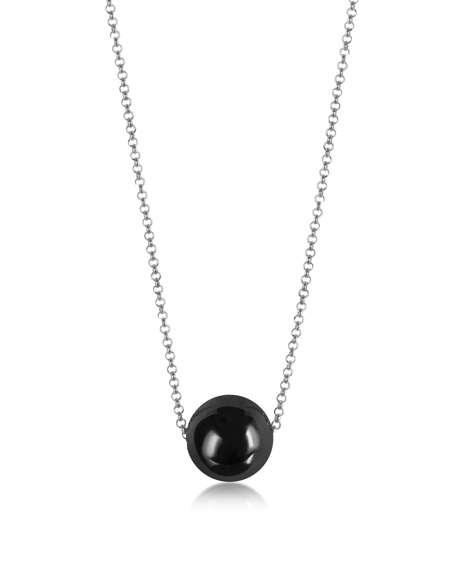 Antica Murrina Necklaces, Perleadi Black Murano Glass Bead Chain Necklace
