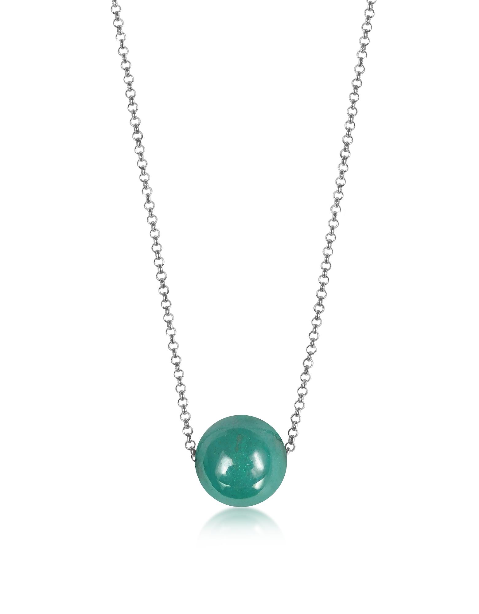 Perleadi - Ожерелье Цепочка с Бирюзовой Бусинкой из Стекла Мурано