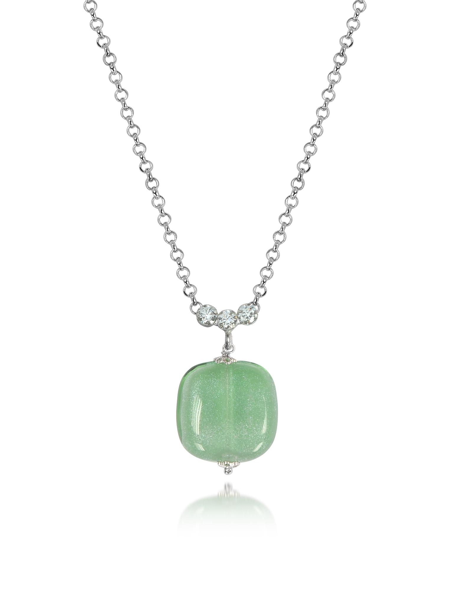 Florinda - Ожерелье из Зеленого Стекла Мурано и Стерлингового Серебра