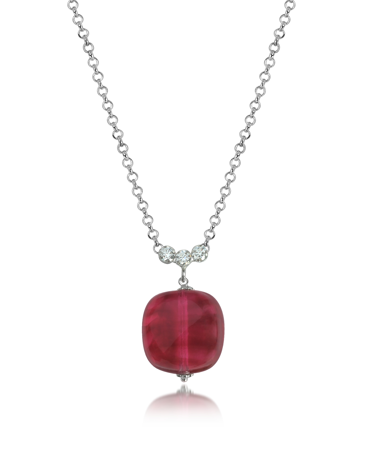 Antica Murrina Necklaces, Florinda Ruby Murano Glass Sterling Silver Necklace