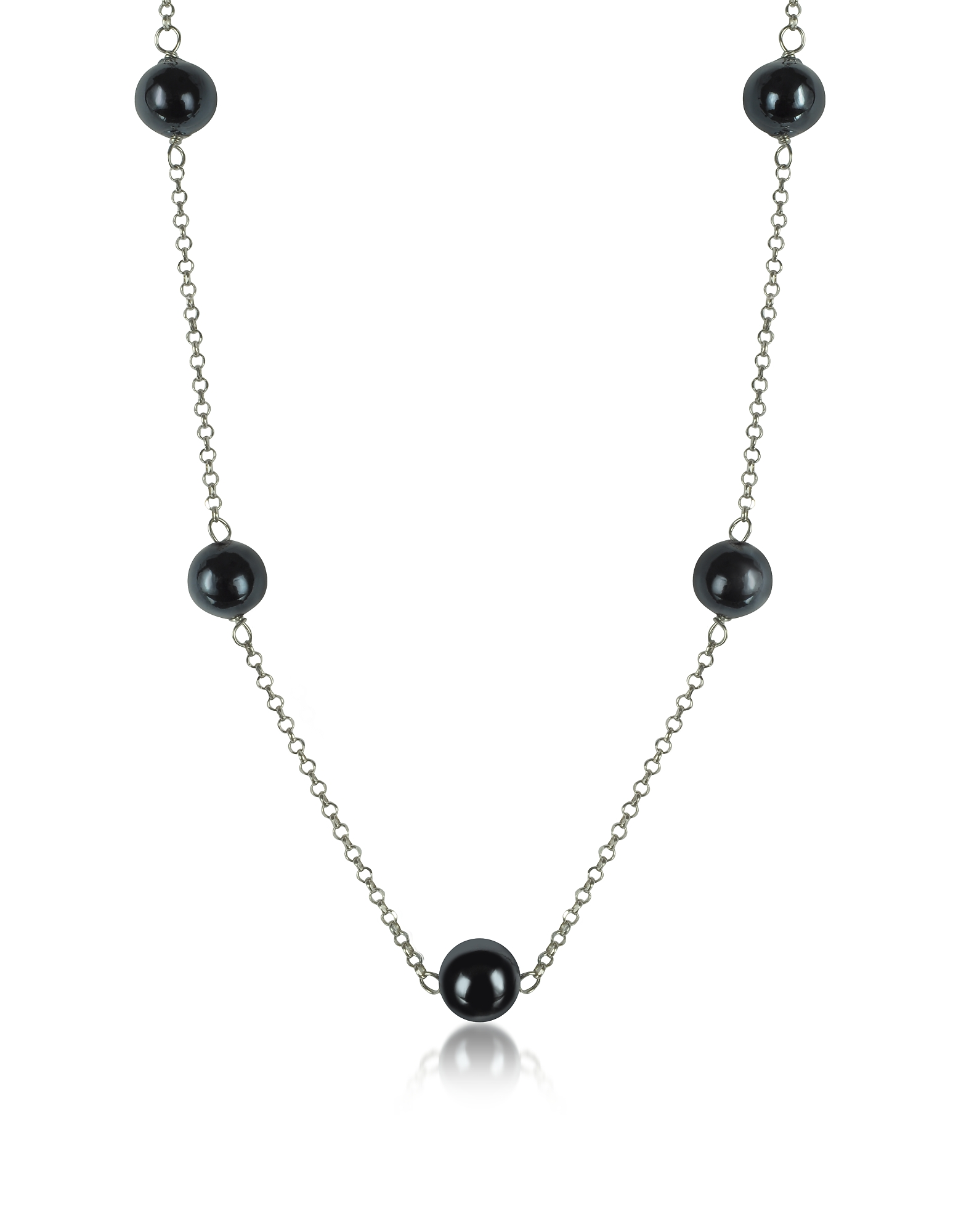 Antica Murrina Necklaces, Perleadi Black Murano Glass Beads Necklace