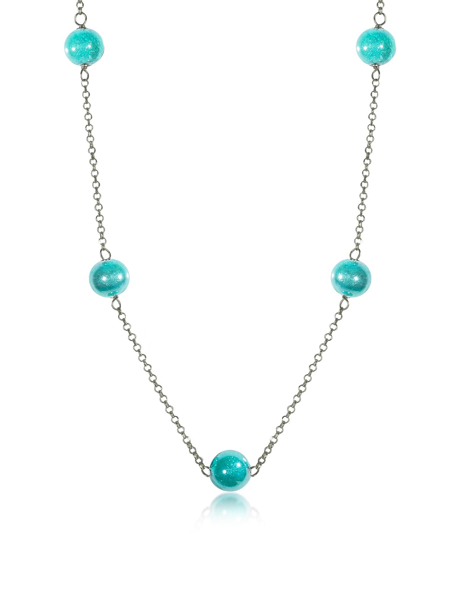 Perleadi - Ожерелье из Бирюзовой Бусинок Стекла Мурано