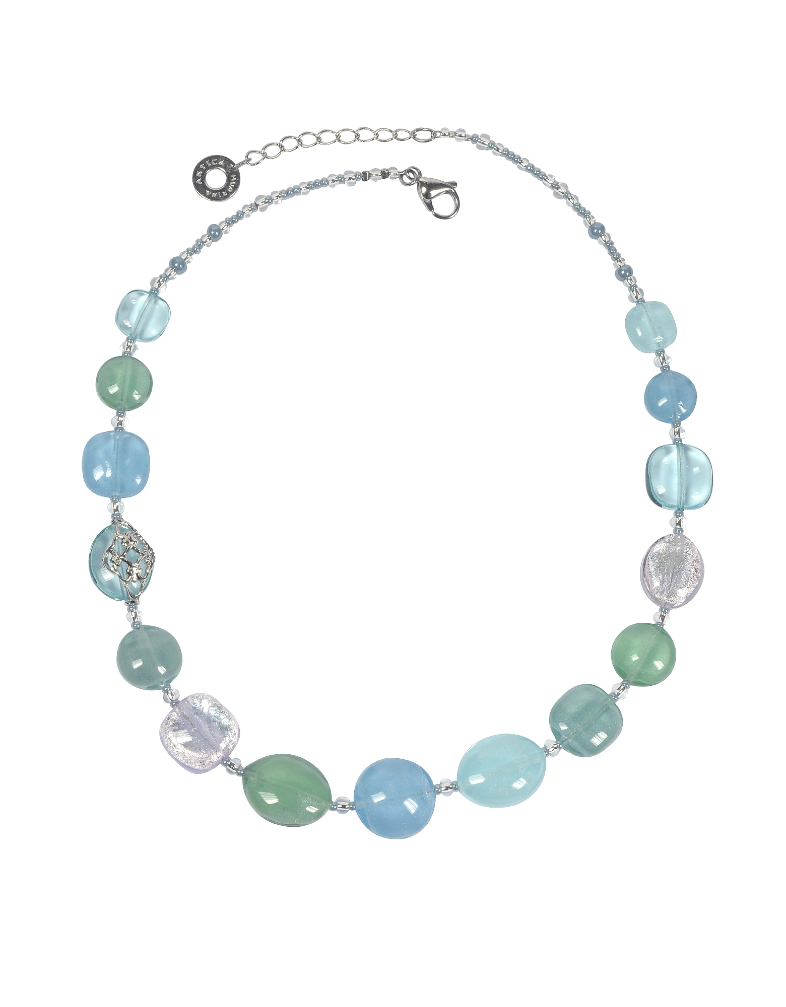 Antica Murrina Necklaces, Florinda Light Blue and Green Murano Glass Beads Necklace