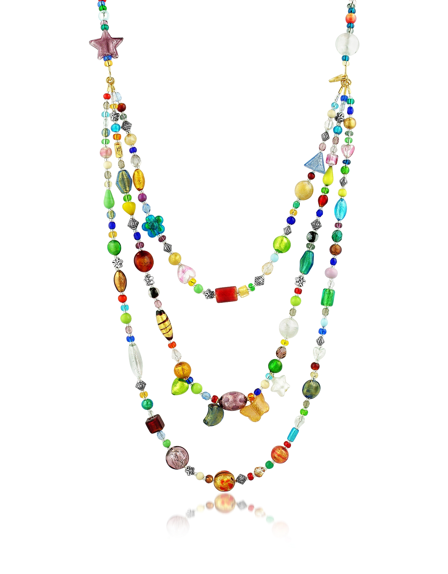 Brio - Ожерелье из Трех Нитей Разноцветных Бус из Стекла Мурано