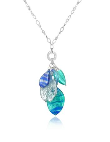 Antica Murrina Twister - Sterling Silver and Murano Glass Leaves Necklace