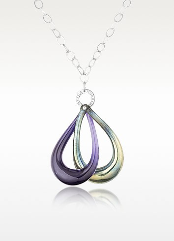 Connection - Murano Glass Double Loop Pendant with Sterling Silver Chain - Antica Murrina
