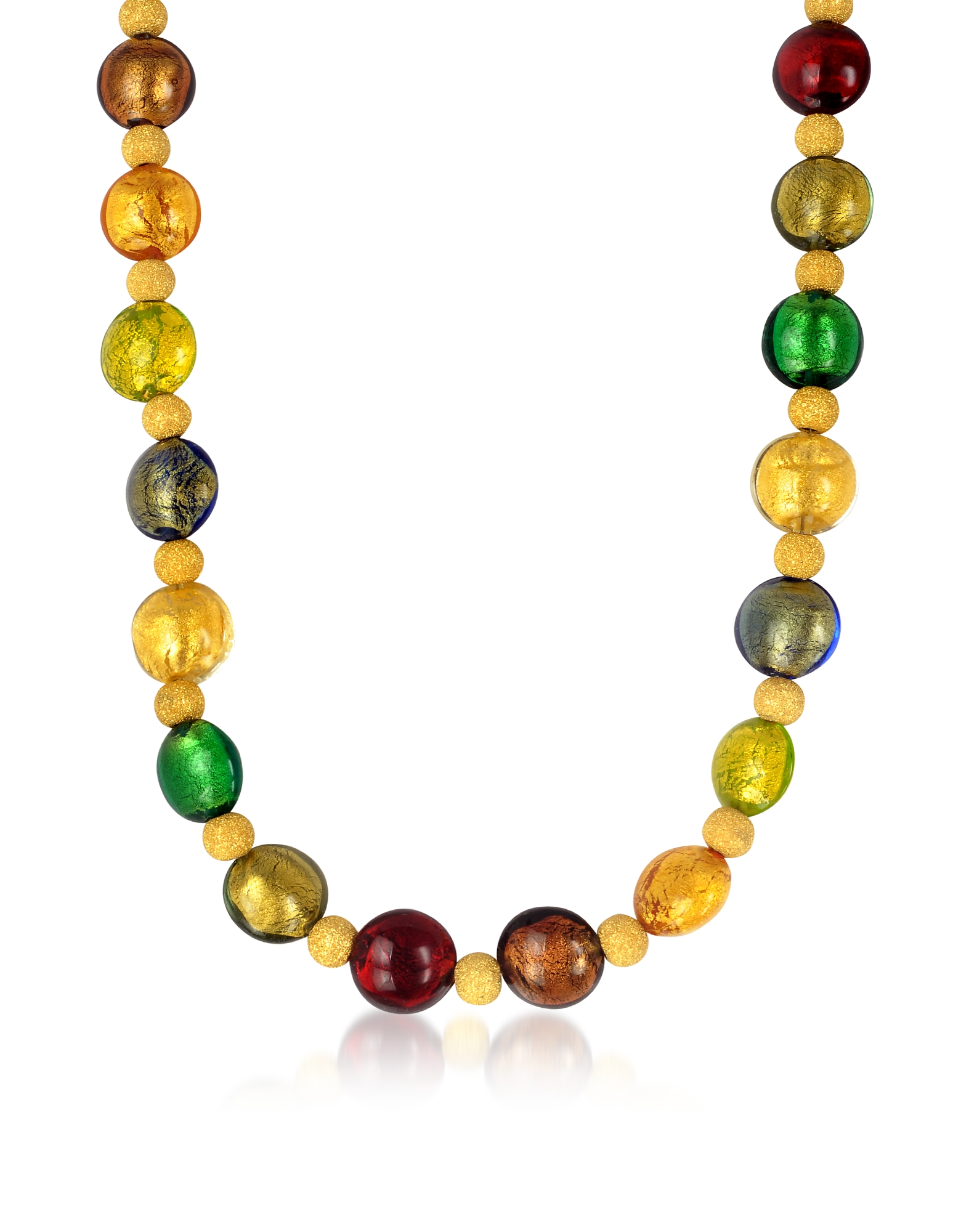 Antica Murrina Necklaces, Manuela - Multi-Color Murano Glass and Sterling Silver Necklace