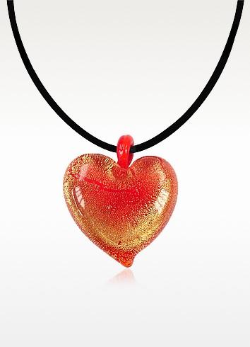 Passione - Red & Gold Murano Glass Heart Pendant - Antica Murrina
