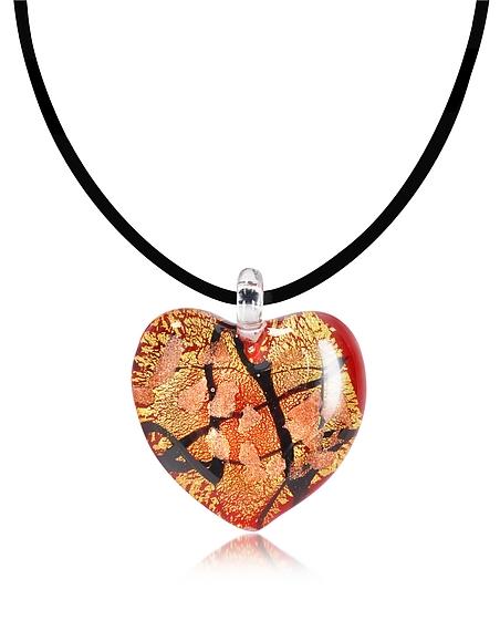 Foto Antica Murrina  Passione- Pendente Cuore Rosso, Nero e Oro in Vetro di Murano Collane