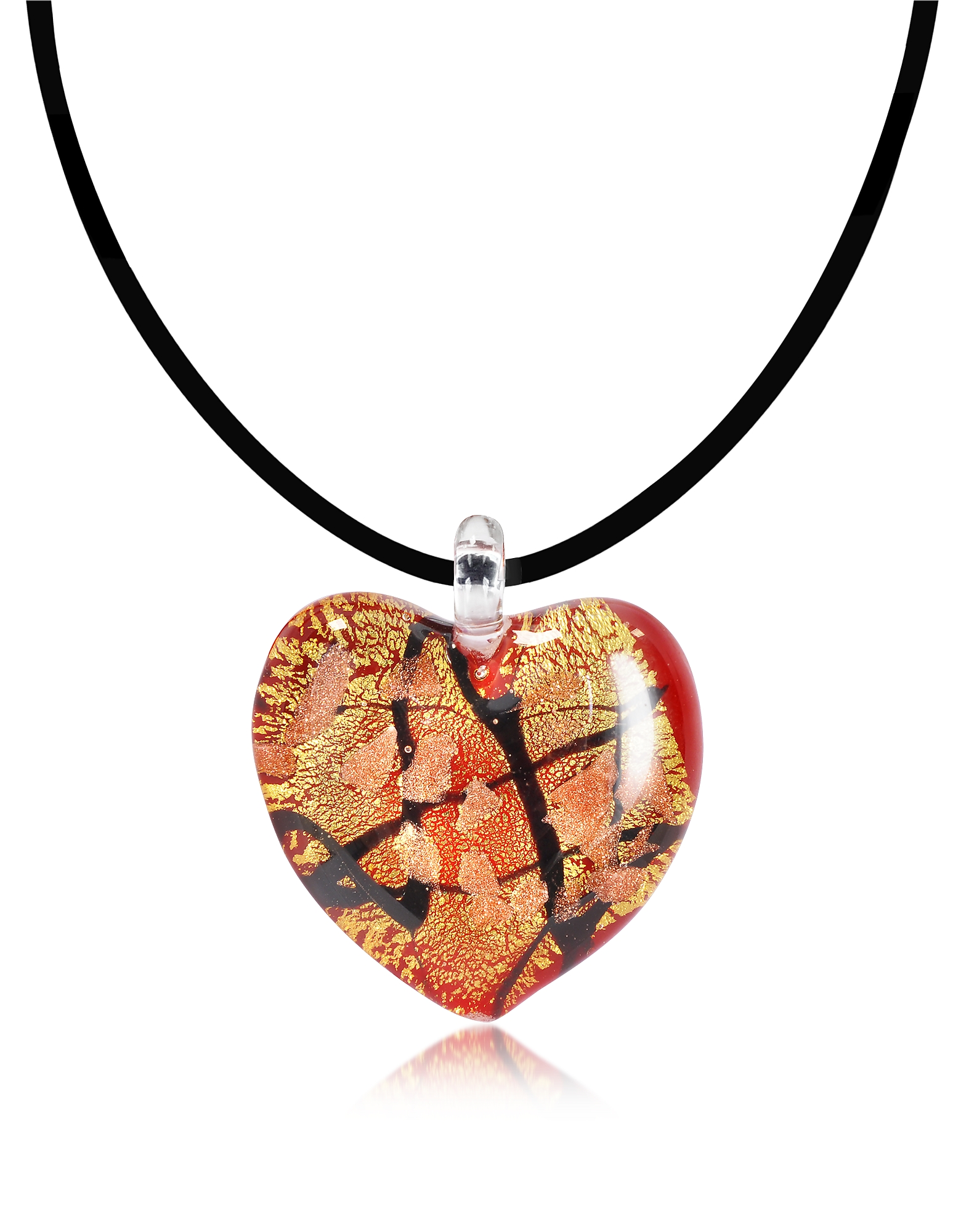 Antica Murrina Designer Necklaces, Passione - Red, Gold and Black Murano Glass Heart Pendant