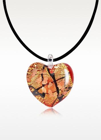 Passione - Red, Gold and Black Murano Glass Heart Pendant - Antica Murrina