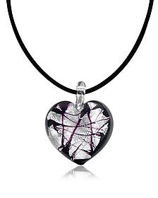 Passione -Pendentif coeur noir et blanc en verre de Murano  - Antica Murrina