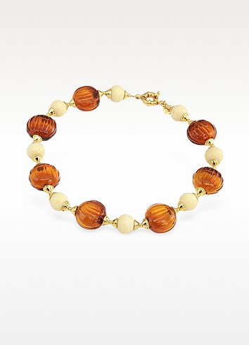 Tatiana - Amber Murano Glass Bead Necklace - Antica Murrina