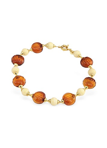 Antica Murrina Veneziana Tatiana - Amber Murano Glass Bead Necklace :  necklace italian jewelry accessories amber
