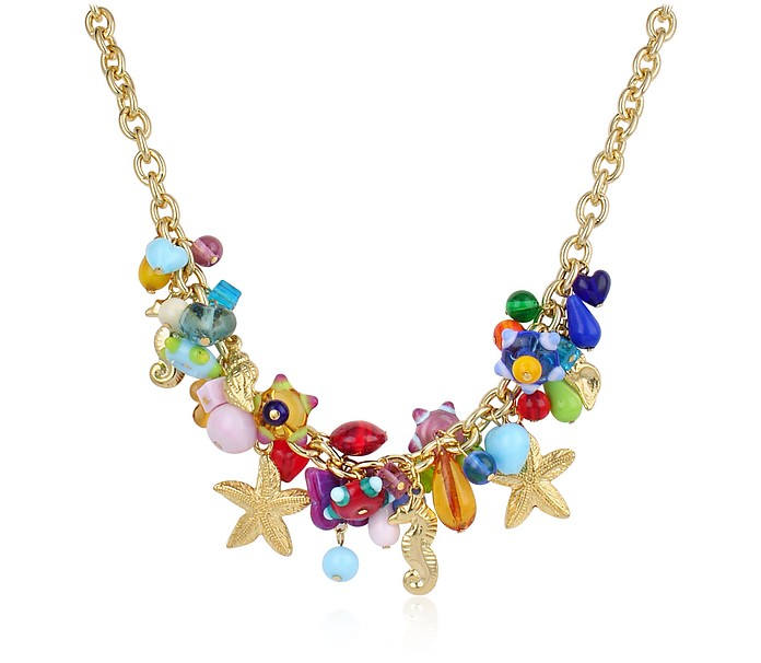 Marilena - Murano Glass Marine Gold Plated Necklace  - Antica Murrina