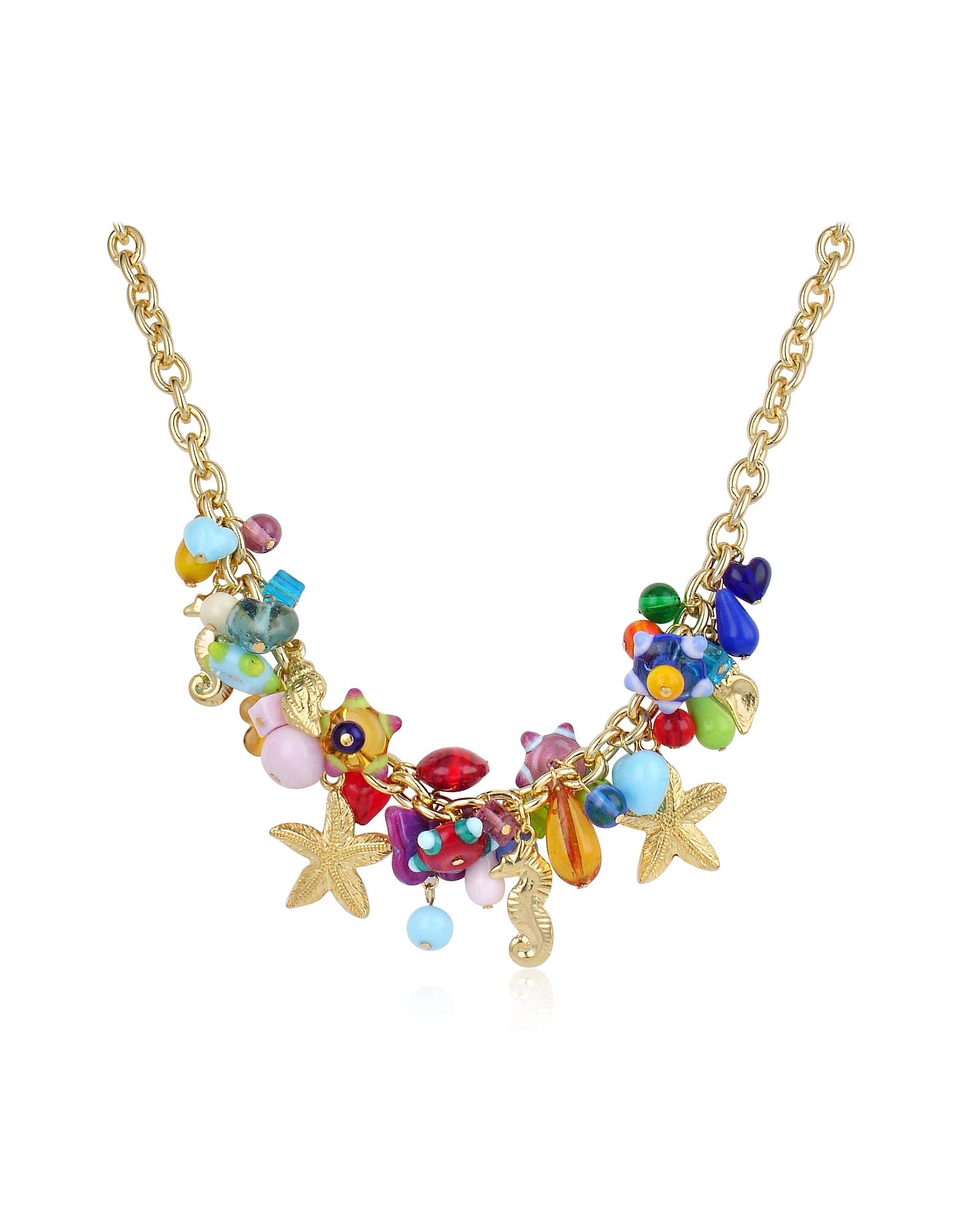ANTICA MURRINA | Antica Murrina Designer Necklaces, Marilena - Murano Glass Marine Gold Plated Necklace | Goxip