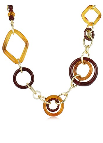 Antica Murrina Veneziana Benny - Geometric Shaped Murano Glass Necklace :  necklace italian jewelry accessories amber