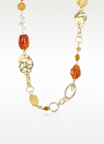 Alaska  - Murano Glass Bead Chain Necklace - Antica Murrina