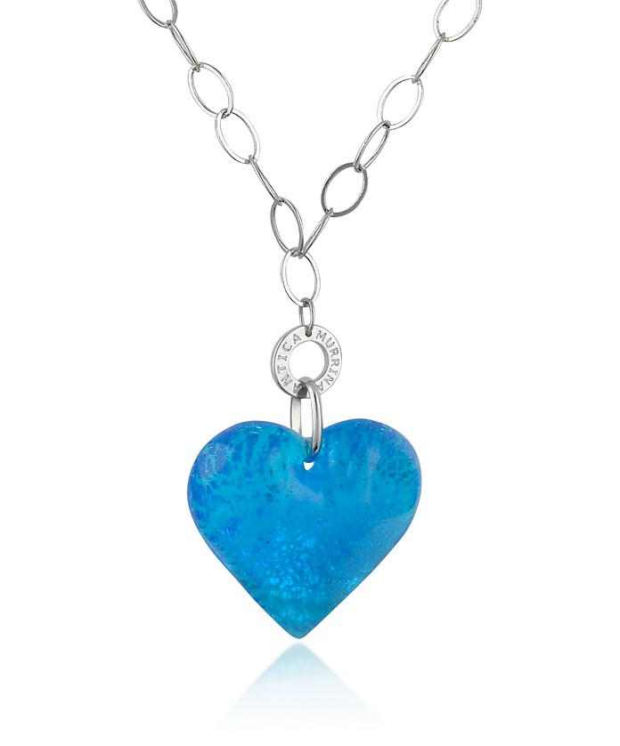 Faith - Murano Glass Gold Leaf Heart Pendant Necklace - Antica Murrina