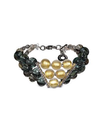 Atelier Nuance - Grey & Amber Murano Glass Bracelet