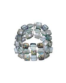 Atelier Byzantium - Grey Murano Glass & Silver Leaf Stretch Bracelet - Antica Murrina