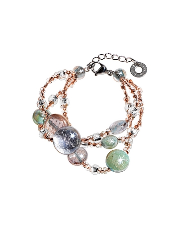 Antica Murrina Redentore 1- Bracelet en Verre de Murano Pastel avec Perles