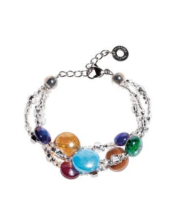 Redentore 1 - Multicolor Murano Glass Drops & Silver Leaf Bracelet
