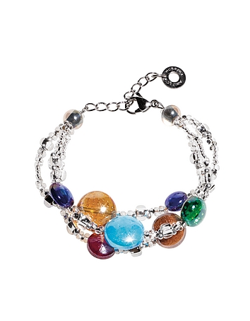 Redentore 1 - Multicolor Murano Glass Drops & Silver Leaf Bracelet