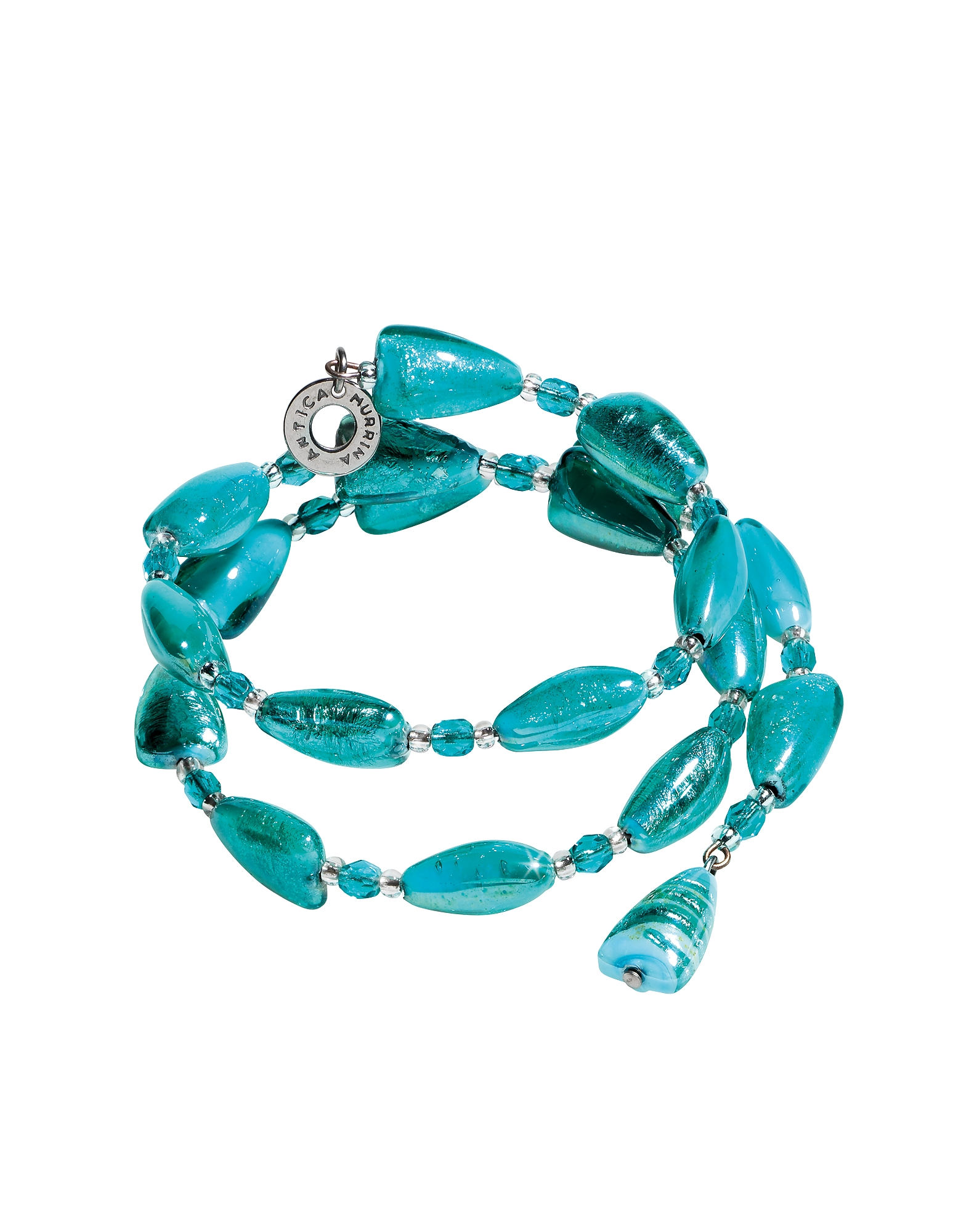 Antica Murrina Bracelets, Marina 1 Rigido - Turquoise Green Murano Glass and Silver Leaf Bracelet