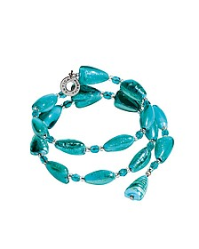 Marina 1 Rigido - Turquoise Green Murano Glass and Silver Leaf Bracelet - Antica Murrina