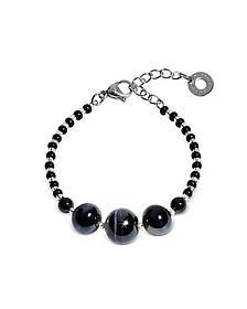 Optical 2 Rigido - Silver Stainless Steel Bracelet w/Black Murano Glass Beads - Antica Murrina