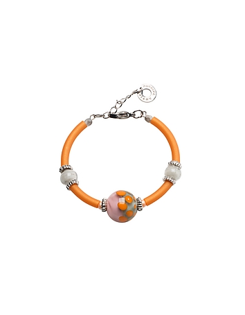 Antica Murrina - Papaya 2 Orange Bracelet w/Pastel Murano Glass Beads