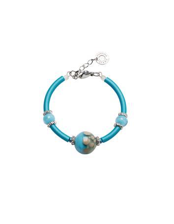 Papaya 2 Light Blue Bracelet w/Pastel Murano Glass Beads