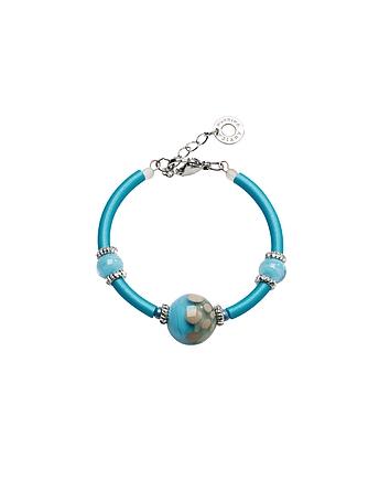 Antica Murrina - Papaya 2 Light Blue Bracelet w/Pastel Murano Glass Beads