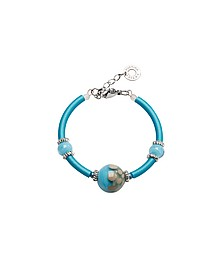 Papaya 2 Armband aus Edelstahl mit Muranoglasperlen in hellblau - Antica Murrina Veneziana