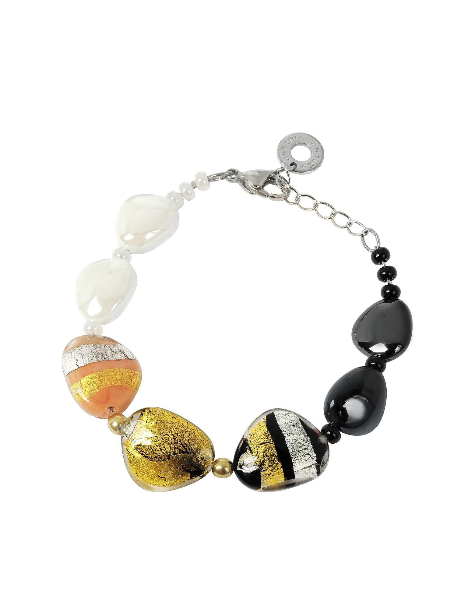 Moretta - Браслет из Стеклянных Бусинок Пастельных Оттенков с Фольгой из Золота 24 карата и Стерлингового Серебра