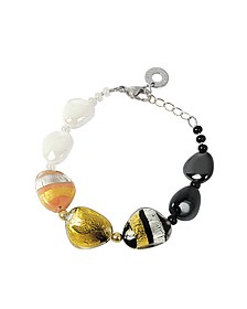 Moretta Pastel Glass Beads w/24kt Gold and Silver Leaf Bracelet - Antica Murrina