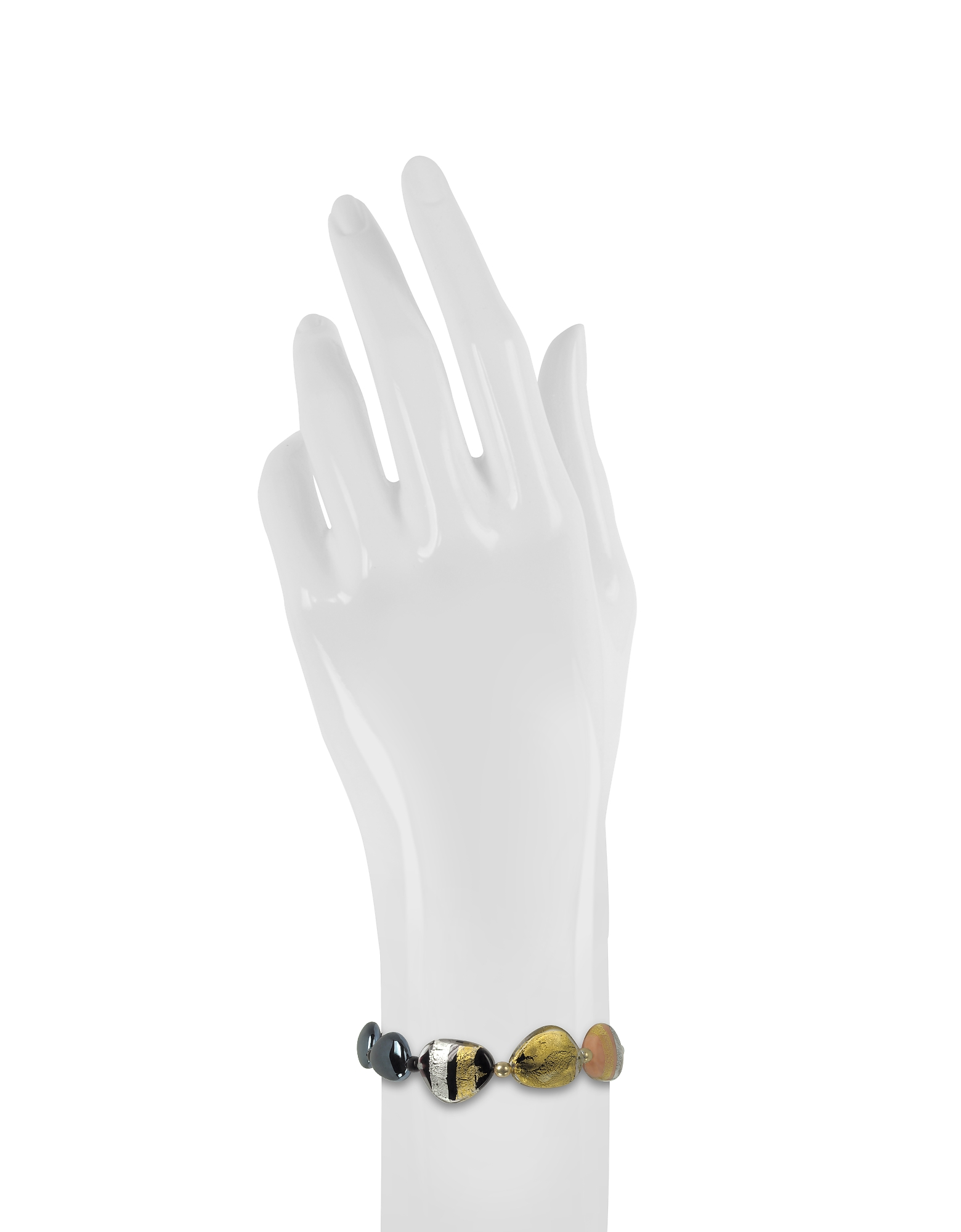 Moretta Pastel Glass Beads w/24kt Gold and Silver Leaf Bracelet от Forzieri.com INT