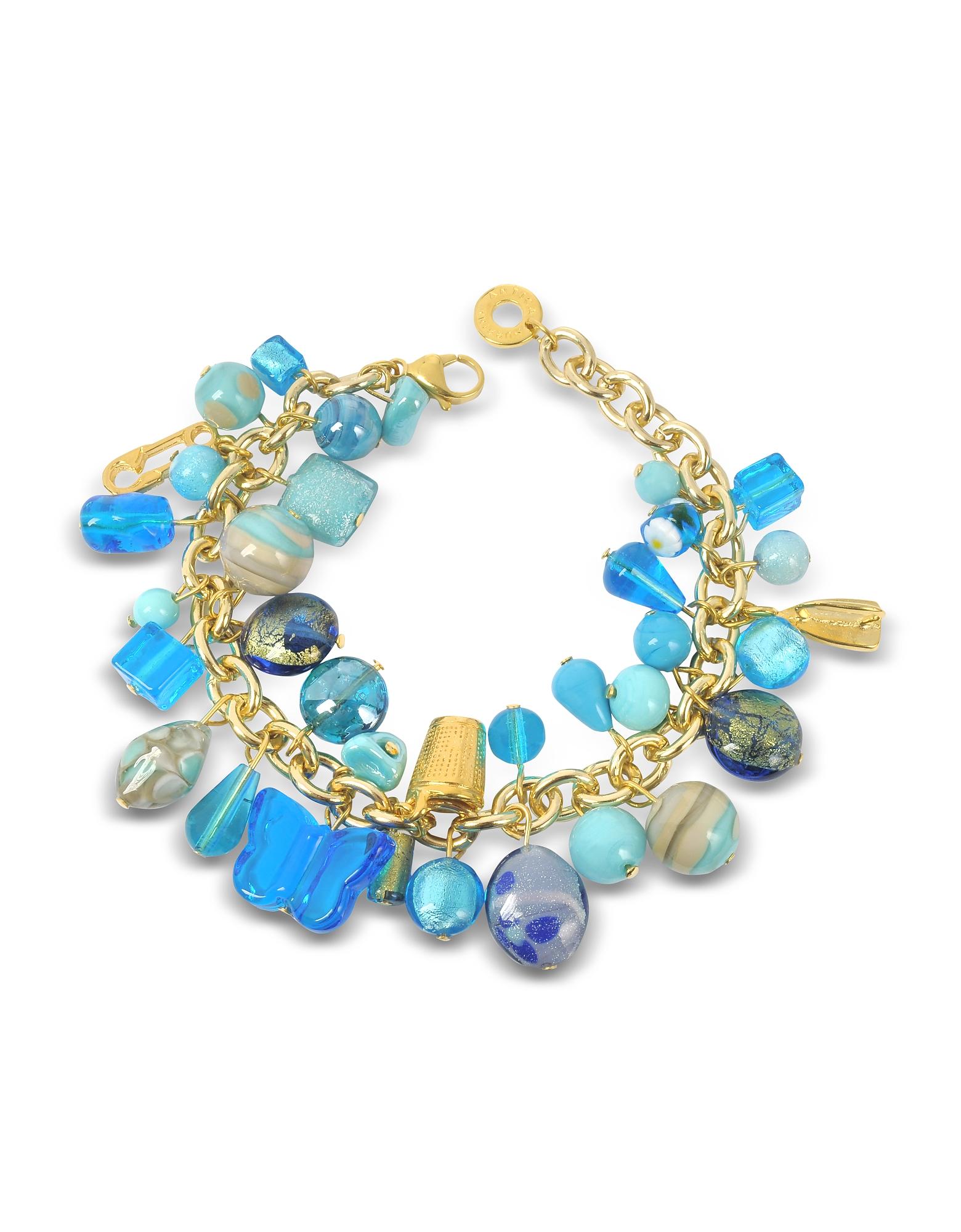Image of Antica Murrina Designer Bracelets, Marilena Murano Glass Marine Charms Bracelet